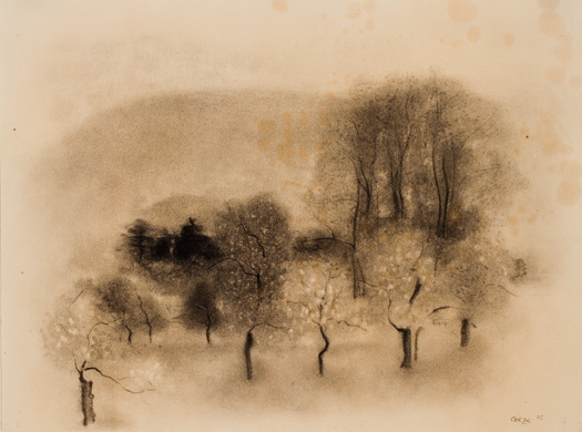 Richard Oelze, Untitled, 1925, Graphite and black and white chalk on wove paper. Smart Museum of Art, The University of Chicago, Anonymous gift in memory of W.A. Peterhans, 2009.17.