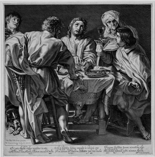 Willem Swanenburgh, Supper at Emmaus (after Peter Paul Rubens), 1611, Engraving on cream laid paper. Smart Museum of Art, The University of Chicago, Purchase, Paul and Miriam Fund for Acquisitions, 2003.84.
