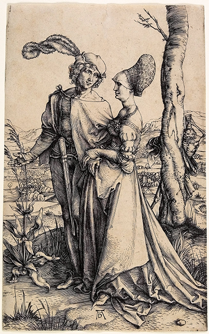 Albrecht Dürer, The Promenade, c. 1496, Engraving. Minneapolis Institute of Art, Bequest of Herschel V. Jones, P.68.152.