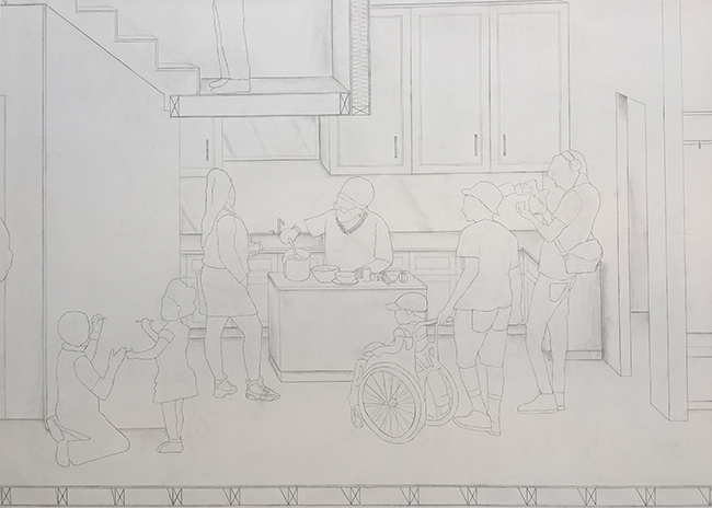 Detail of the wall drawing showing activities in the Think-Do House