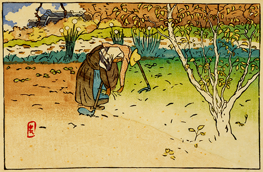 Henri Rivière, Vegetable Garden at Ville-Hue (Saint-Briac), 1890, From the Breton Landscapes, Color woodblock print printed from eight blocks on eighteenth-century Japanese laid paper. Smart Museum of Art, The University of Chicago, Paul and Miriam Kirkl