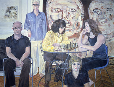 Sylvia Sleigh, Nancy Spero, Leon Golub and Sons Stephen, Phillip and Paul, 1973, Oil on canvas. Smart Museum of Art, The University of Chicago, Gift of Leon Golub and Nancy Spero, 1988.6. © Estate of Sylvia Sleigh Alloway.