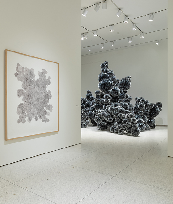 Left: Tara Donovan, Untitled, 2002, Ball-point pen ink on paper, 71-3/4 x 59 inches. Right: Tara Donovan, Untitled (Mylar), 2011/2019, Mylar and hot glue, Dimensions variable. Installation view, Tara Donovan: Fieldwork, Smart Museum of Art, 2019. Courtesy