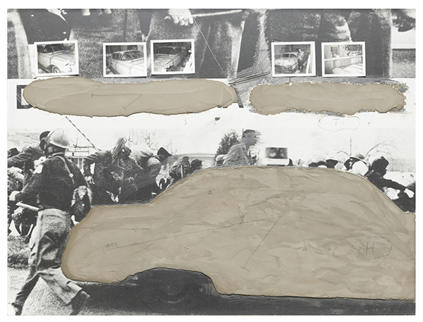 Wolf Vostell, Proposal for Concrete Traffic, 1970, Photostat, cement, internal dye diffusion transfer process prints, thermometer, pencil, and board on plywood. Collection of the Museum of Contemporary Art Chicago, Gift of Jan and Ingeborg van der Marck,