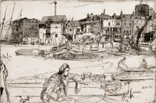 James Abbott McNeill Whistler, Black Lion Wharf, 1859, Etching and drypoint on laid paper. Smart Museum of Art, University of Chicago, Gift of Brenda F. and Joseph V. Smith, 2000.93.