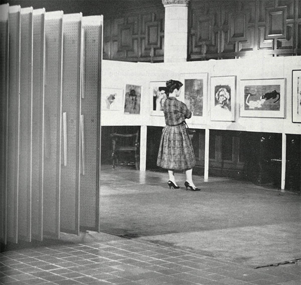 Student browsing Art to Live With collection in 1959