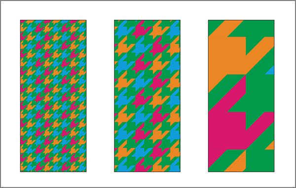 Mockup of interlocking green, orange, blue, and pink patterns for not all realisms, designed by Unyimeabasi Udoh.