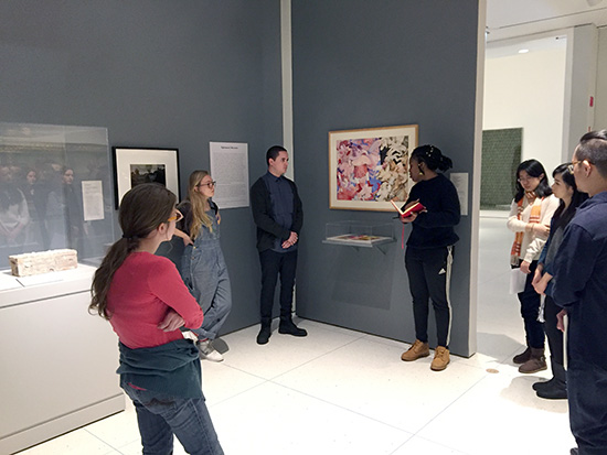 Ephemeral Museum student curators discuss their selections with the rest of the class