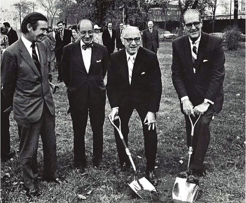 Architect Edward Larrabee Barns, University President Edward Levi, John Smart, Frank Woods