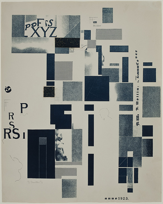 Kurt Schwitters, Untitled, Blue lithograph with collage on Velin paper, unique trial proof impression with collaged elements. Smart Museum of Art, The University of Chicago, Purchase, The Paul and Miriam Kirkley Fund for Acquisitions, 2013.18.