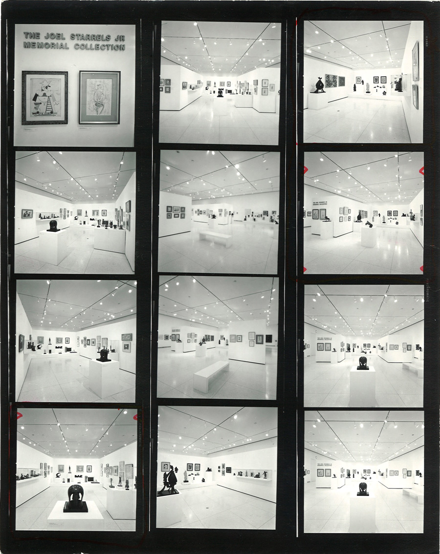 Contact sheet of photos showing inaugural exhibition
