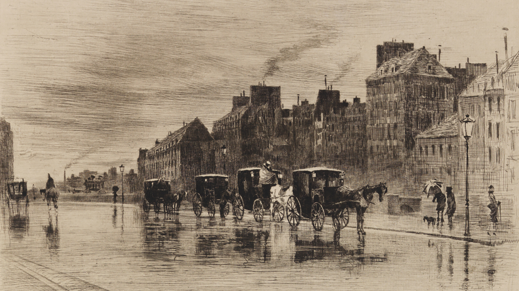 Félix Buhot, A Winter Morning Beside the Hotel-Dieu (Une Matinée d'Hiver au Quai de L'Hotel-Dieu) (detail), 1876, Etching and drypoint on laid paper, state v/xv. Smart Museum of Art, The University of Chicago,Gift of Brenda F. and Joseph V. Smith, 2003.