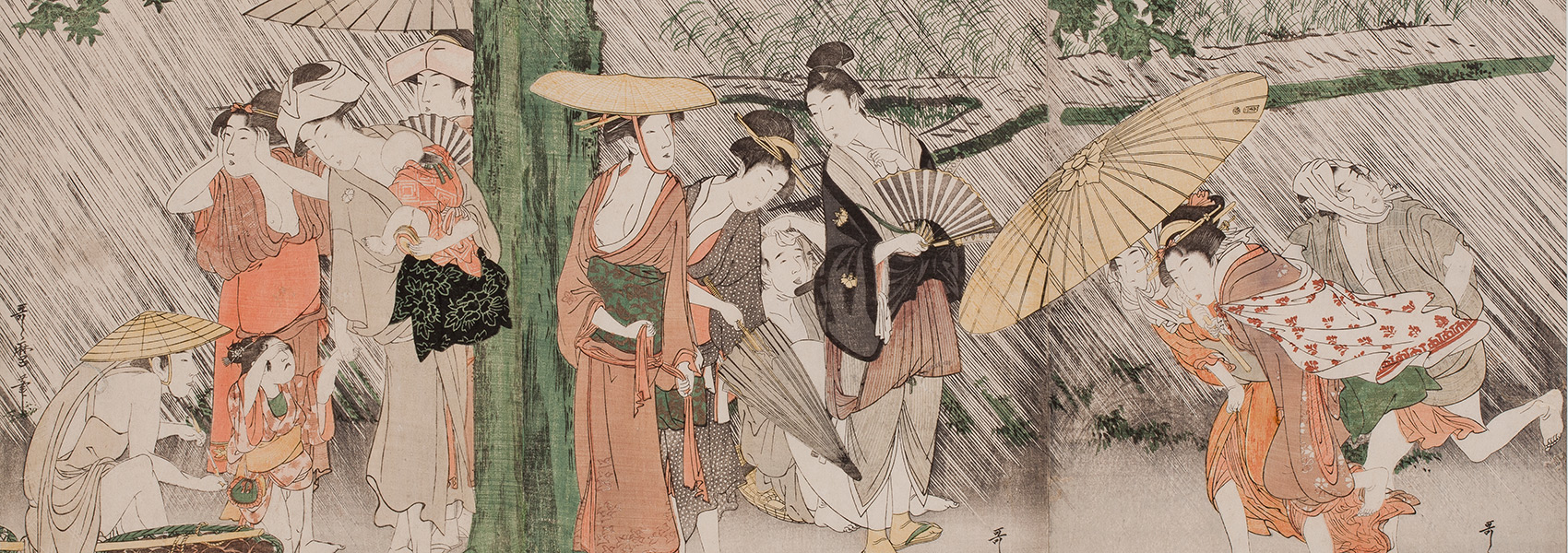 Kitagawa Utamaro, Taking Shelter from a Sudden Summer Shower under a Huge Tree, early 1790s