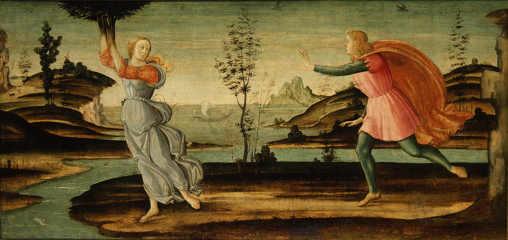 Master of the Apollo and Daphne Legend, Daphne Fleeing from Apollo, c. 1500, Oil, formerly on panel, transferred to canvas. Smart Museum of Art, The University of Chicago, Gift of the Samuel H. Kress Foundation, 1973.45.