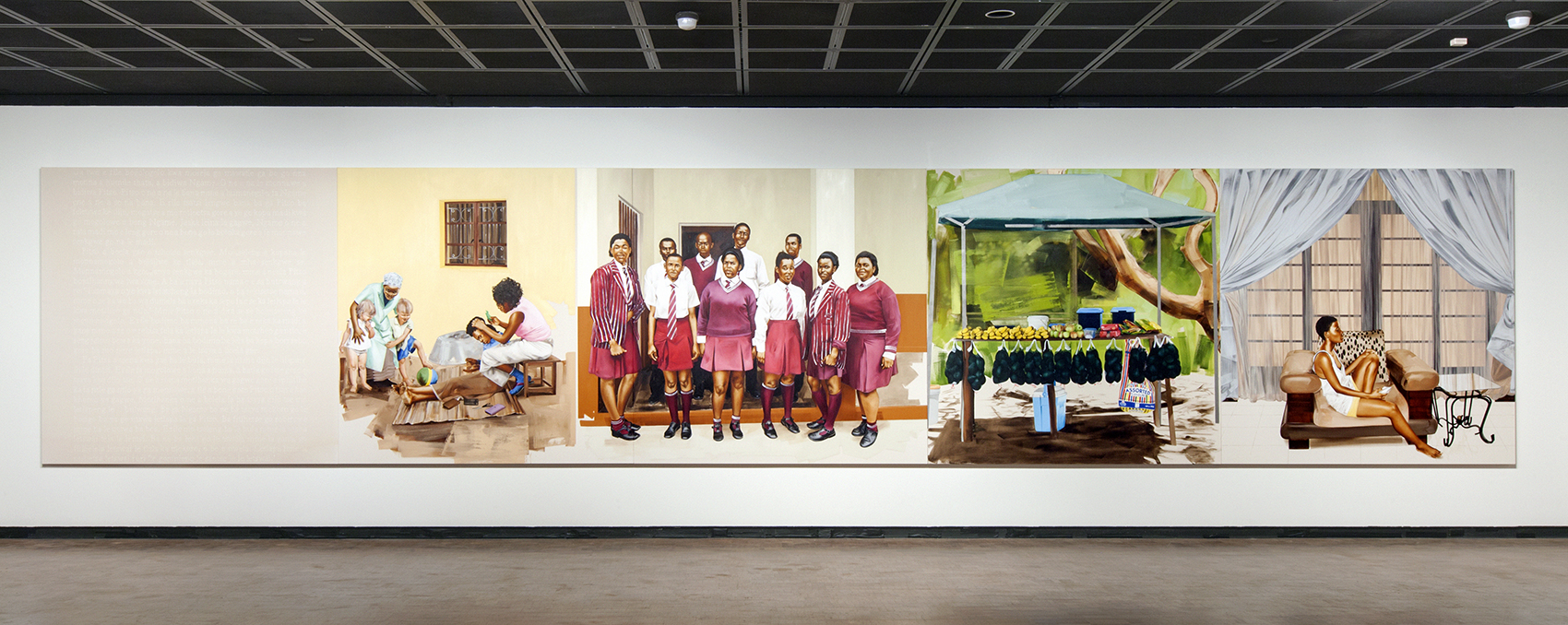 Meleko Mokgosi: Bread, Butter, and Power, 2018, Installation view, Fowler Museum at UCLA. Courtesy the artist and Honor Fraser, Los Angeles. Photo © Monica Nouwens.