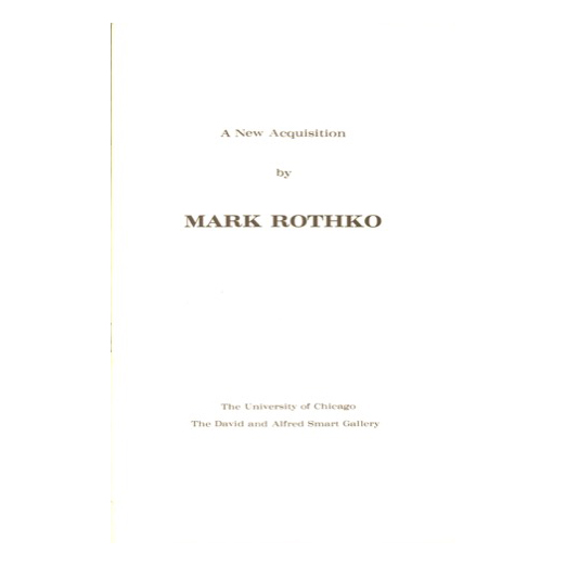 Catalogue cover for A New Acquisition by Mark Rothko