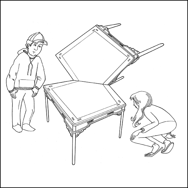 Coloring page inspired by Ai Weiwei, Tables at Right Angles, 1998. Drawn by Erik L. Peterson for the Smart Museum of Art at the University of Chicago.