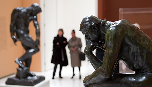 Tragic Museum exhibition opening, showing Rodin's The Thinker