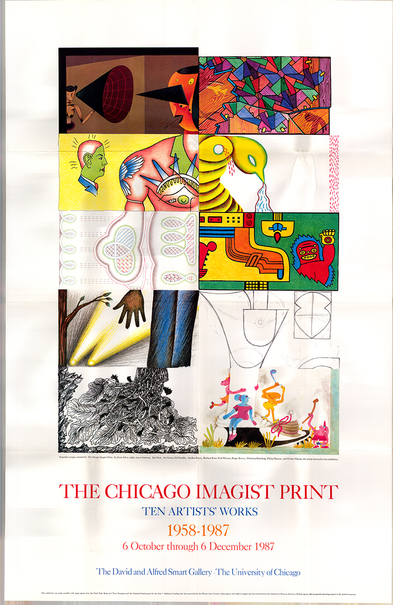 An exquisite corpse drawing by 10 artists serves as the poster for The Chicago Imagist Print exhibition