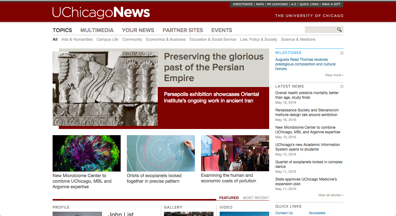 Screenshot of the old UChicago News site