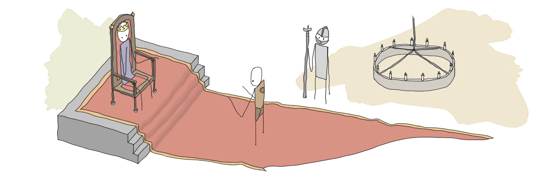 illustration of a civilian approaching a king.
