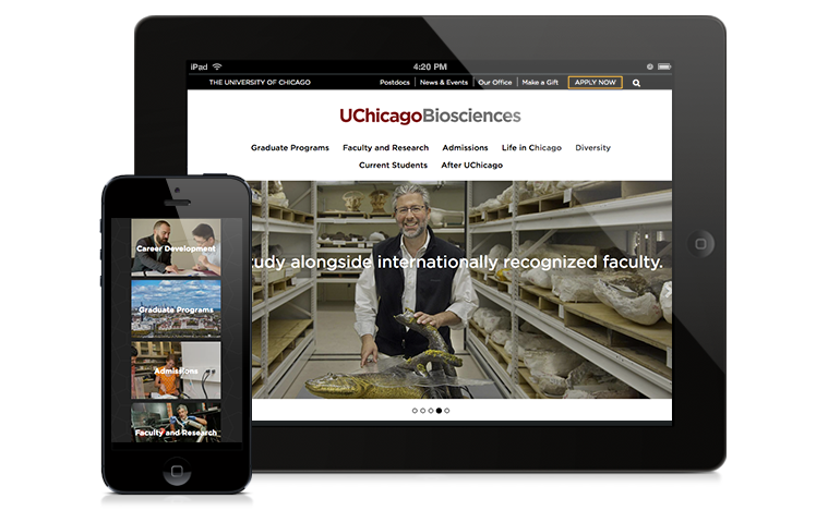 The biosciences website on an iPad and a mobile device.