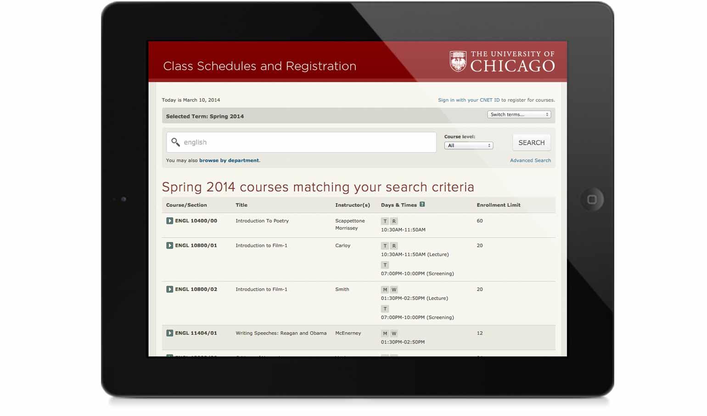 classes.uchicago.edu on an iPad