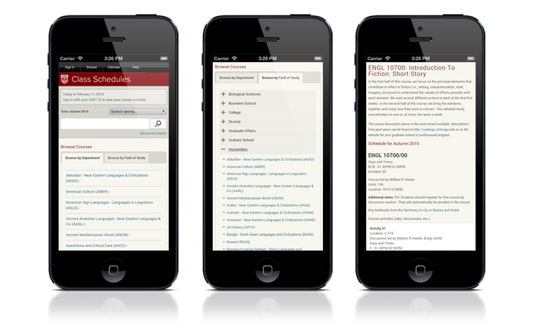 Course search and registration on a phone