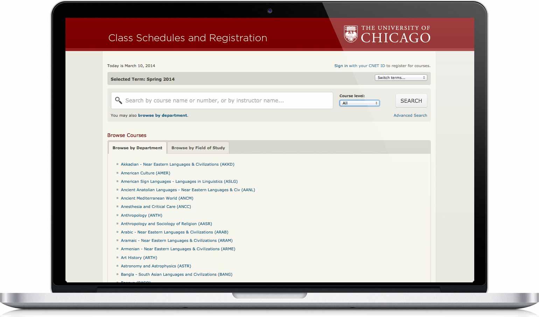classes.uchicago.edu on a laptop