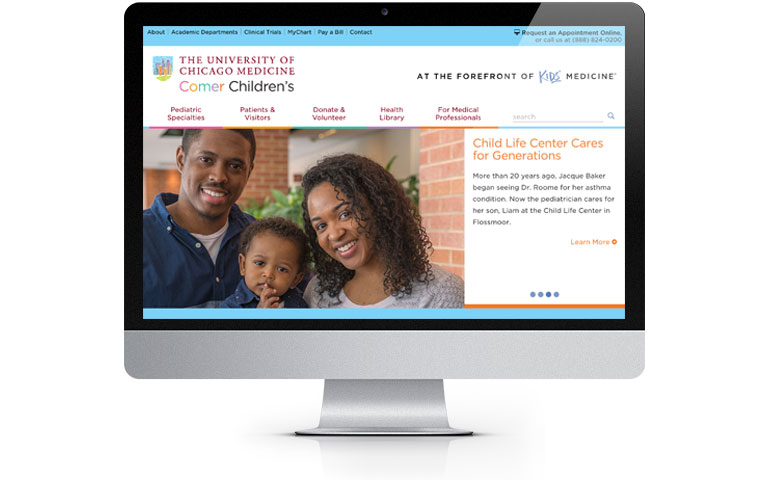 Comer Children's Hospital home page