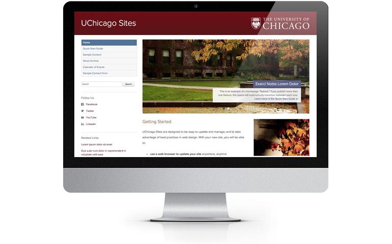 UChicago Sites on a desktop computer