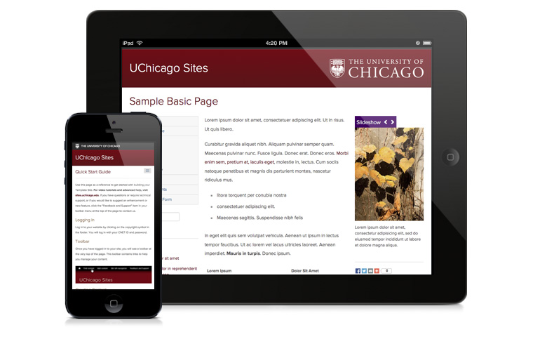 UChicago Sites on a phone and iPad