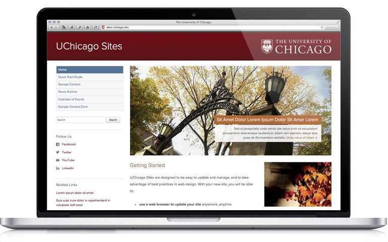 UChicago Sites on a laptop