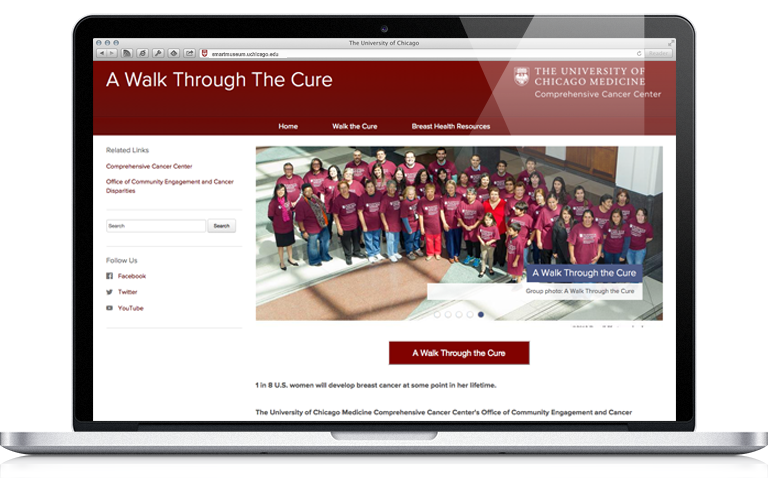 Screenshot of a walk through the cure website on a laptop.