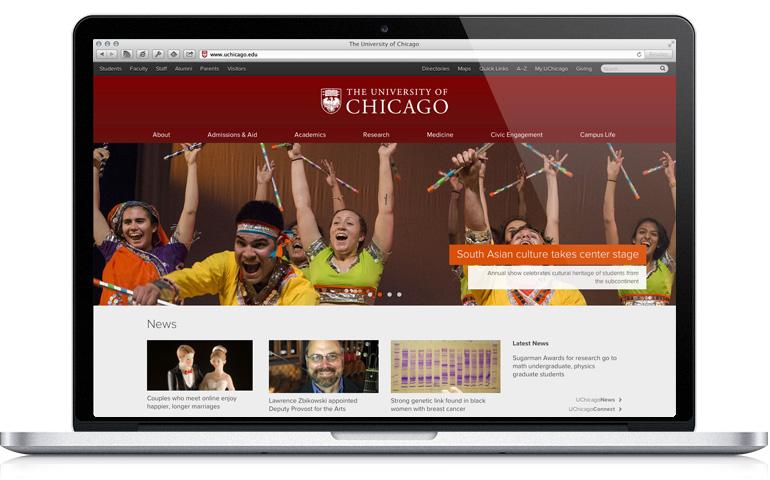 www.uchicago.edu on a laptop
