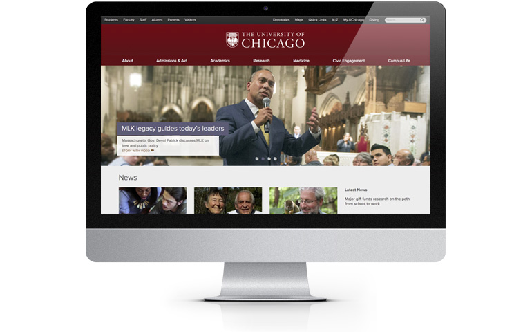 www.uchicago.edu on a desktop computer