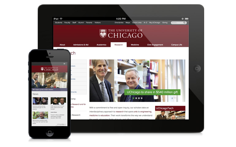 www.uchicago.edu on a phone and iPad