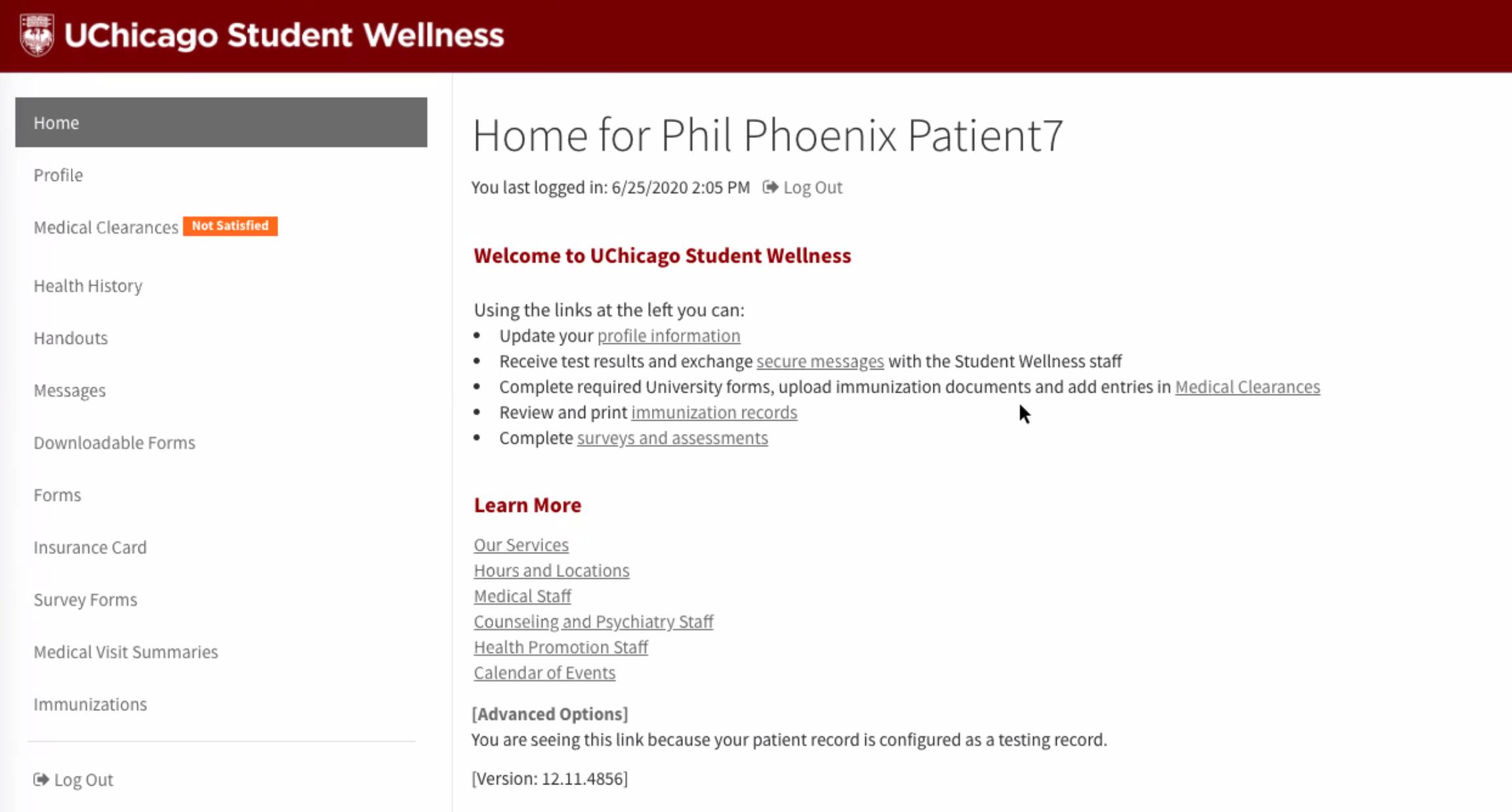Screenshot of the my.Wellness Portal