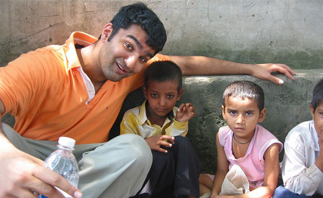 Taparia spends time with the children of a rural village in northern India.