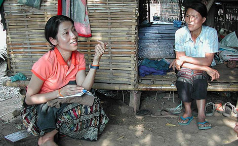 Yayoi Fujita, Research Associate in the Analysis of Human-Environment Interactions Project in the Anthropology Department, discusses land use history with a family in northern Laos.