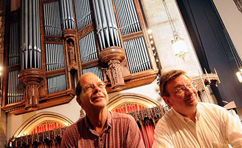 University Carillonneur Wylie Crawford and University Organist Tom Weisflog