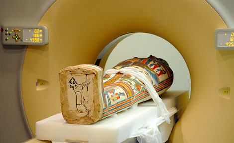 Meresamun slides through the CT scanner