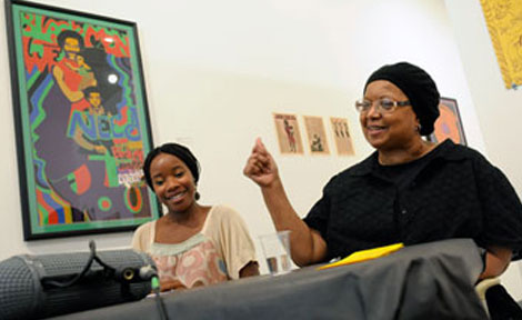 Edna M. Togba (left) facilitated an artist discussion with Barbara Jones-Hogu (right) as part of the Looks Like Freedom exhibition events. (Photo by Lloyd DeGrane)