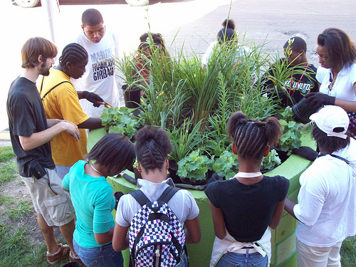 After six weeks of work at the community Brickyard Garden at 61st Street and Woodlawn Avenue, the students adorned planters with the vibrant colors of the teens' artwork and filled with fresh perennial plants.