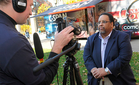 Michael Dawson, Professor of Political Science at the University, told C-SPAN that if Barack Obama is elected president, racial tension would not end, but race relations would improve. (Photo by Lloyd DeGrane)