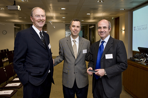 William Browder, AB'85 (right), spoke at the Europe inauguration of the University's Distinguished Alumni Lecture Series in London. Browder is shown with Physical Sciences Dean Robert Fefferman (center) and Bernard Bulkin, a member of the Physical Sci
