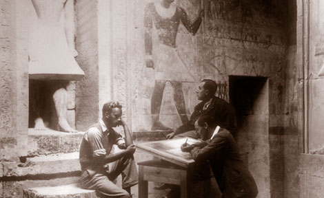 Epigraphers and artists copy texts and scenes in 1934 in the Tomb of Mereruka at Saqqara
