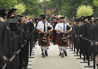 Bagpipes lead procession at 503rd Convocation in 2010