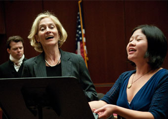 At a recent Law School conference on Gender, Law, and the British Novel, Martha Nussbaum displays her vocal talents to colleagues and students by singing a duet with Xiaorong Jajah Wu, JD'10, from Monteverdi's L'incoronazione di Poppea.