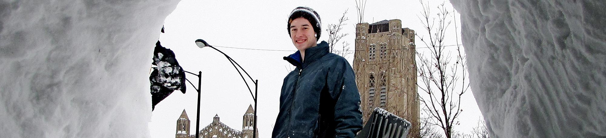 student in snow